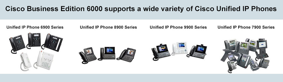 Cisco Business Edition 6000 supports a wide variety of Cisco Unified IP Phones